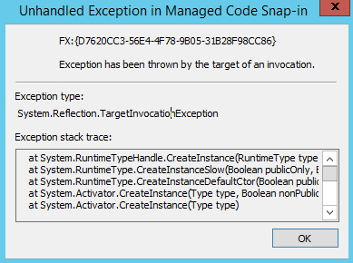 Solution Article: Error 'MMC has detected an error in a snap